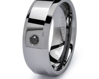 8mm Personalize Custom Engraved Tungsten Ring,  0.05ct Black Diamond Tungsten Wedding Band, Men's Wedding Ring, Comfort Fit
