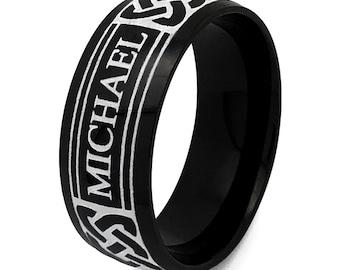 Tungsten Ring, Name Ring, Celtic Ring,Celtic Band for Men and Women, Celtic Ring, Men's 8mm Celtic Ring, Black Tungsten  Celtic Ring tcr738