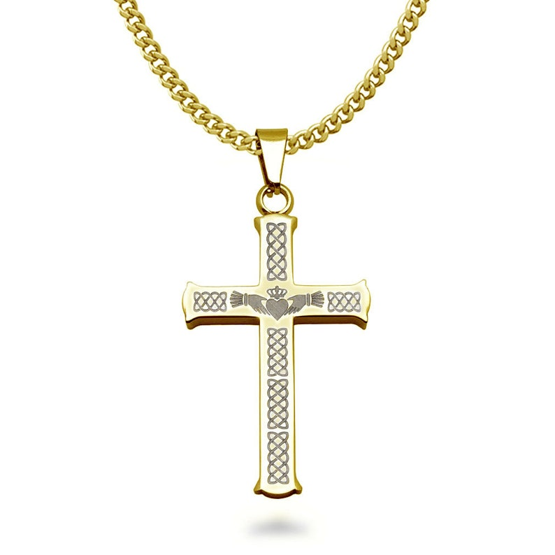 Men/'s Cross Necklace Celtic Claddagh Cross Pendant Necklace SSN545-G Personalized Stainless Steel Gold Plated Cross Pendant Necklace