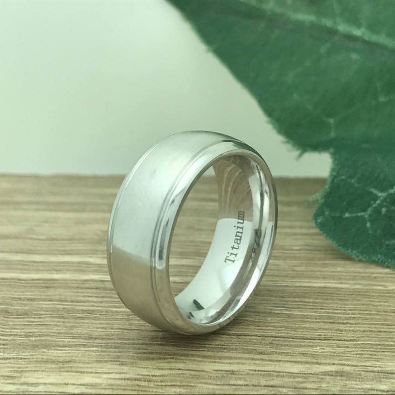 8mm Titanium Wedding Ring Anniversary Ring Personalize Custom Engrave White Titanium Ring Bride or Groom Ring Father/'s Day Gift-