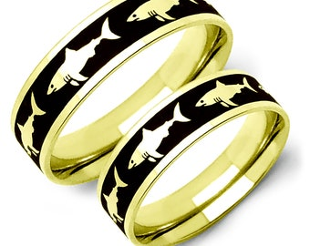 Shark Rings, Hammerhead Shark Rings, 2 Tone Gold Plated Stainless Steel Ring with Shark Design, Couples Ring Set, Customizable -SSR81-G