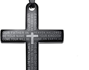 Lords Prayer Cross Necklace, Personalized Black Plated Stainless Steel Cross Pendant Necklace,Cross Necklace, Religious Jewelry