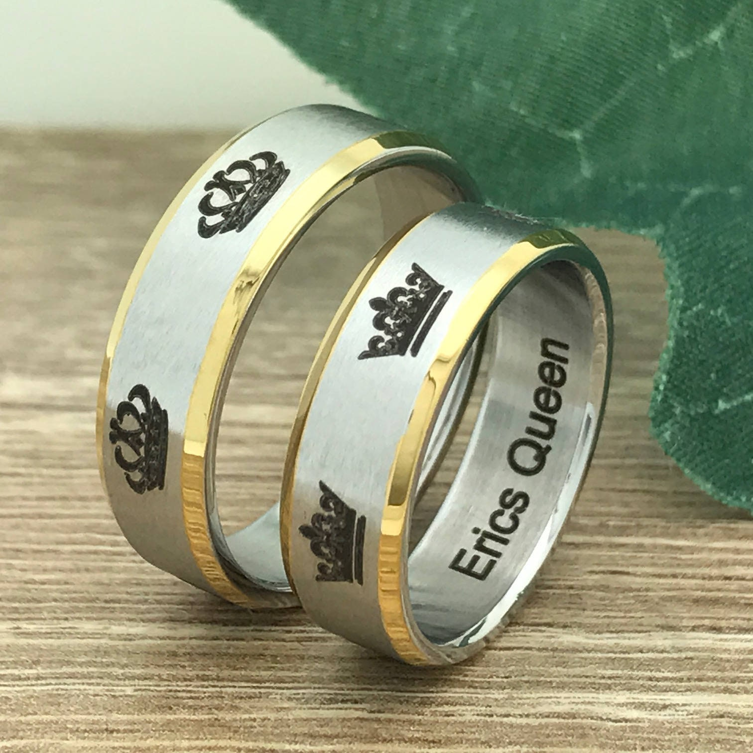 7f77d0316b111 6mm King and Queen Rings, Personalize Engrave Stainless Steel Rings with  King & Queen Crown Design,Promise Rings, Couples Ring SSR584