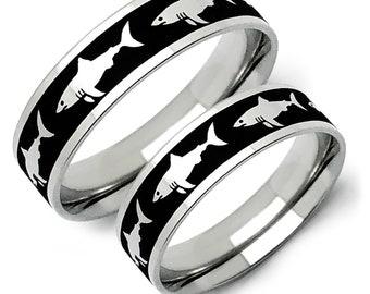 Shark Rings, Hammerhead Shark Rings, 925 Sterling Silver Ring with Shark Design, Couples Ring Set, Customizable Rings, cOUPLES rING sET