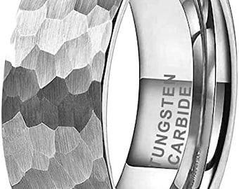 Tungsten Ring, Men's Tungsten Wedding Ring, Wedding Ring, Hammered Tungsten Ring, Anniversary Ring