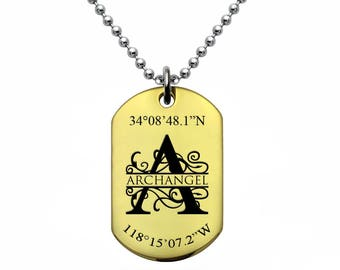 Dog Tag Necklace, Custom Engrave Split Monogram Dog Tag Necklace, Gold Plated Stainless Steel Dog Tag  Necklace,Coordinates Necklace-SSN494