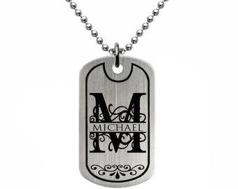 Stainless Steel Dog Tag Necklace, Custom Engrave Split Monogram Dog Tag Necklace, Initial Dog Tag Necklace, Made in USA-SSN483