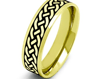 Celtic Ring, Celtic Wedding Band Ring, 2-Tone Gold Plated Stainless Steel Ring with Celtic Design Pipe Cut, Father's Day Gift, 6mm SSR778-G