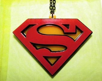 Superman Style DC Comic Book Nerd Geek Necklace