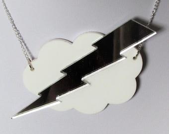 Storm Cloud Lightning Thunder Bolt Statement Necklace