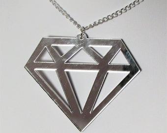 Large Silver Mirror Diamond Shape Statement Necklace