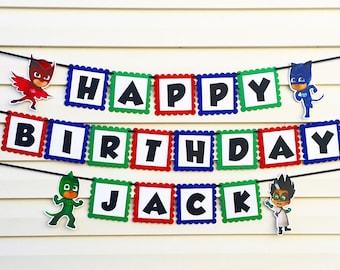 PJ Masks Banner - PJ Masks Birthday Party Decorations - PJ Masks Birthday Banner - Personalized P J Mask Banner