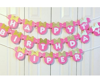 Minnie Mouse Birthday Banner   Minnie Mouse 1st Birthday Party Decorations   Minnie Mouse Garland   Pink and Gold Minnie Mouse Banner