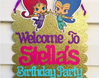 Shimmer and Shine Door Sign - Shimmer and Shine Party Decorations - Shimmer & Shine Birthday Welcome Sign - Shimmer Shine Sign
