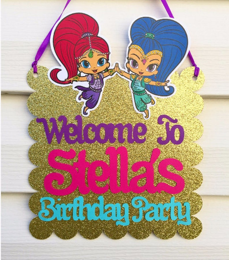 Shimmer And Shine Door Sign Party
