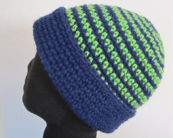 Seahawks Beanie Hat 12th-Man-Fan - hand crochet in Seahawks colors. Bright  green and navy blue. Support Seattle Seahawks! Warm Accessory! 5d8f1aa3d