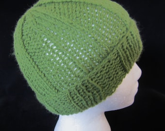 29611f425619b Boy s Olive Green Hat-handkit with sportweight acrylic yarn. Wear to sport  events