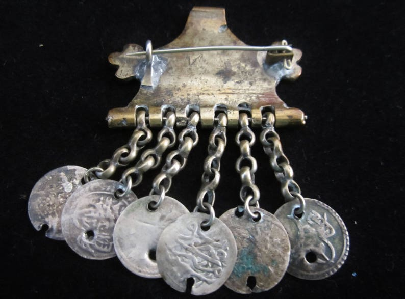 Old coins on chains suspended beneath a gift for him! Antique Brass Hinge Brooch- intriguing handcrafted piece from India Conversational