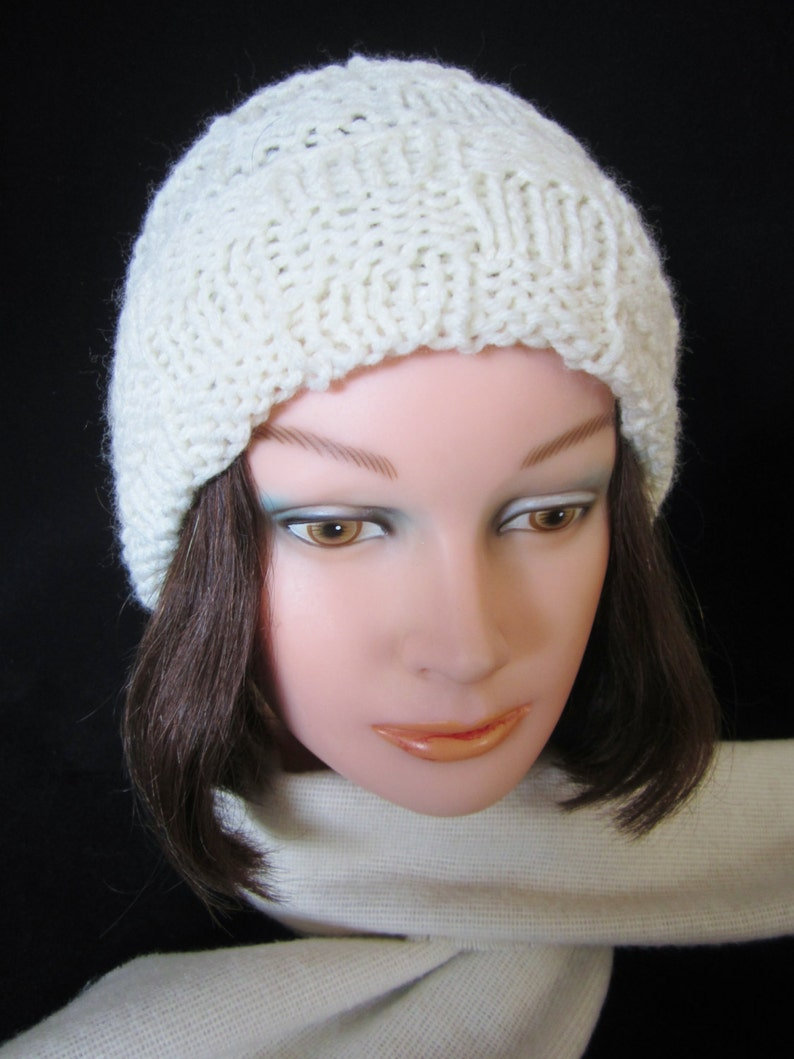 c3e2eb9646e89 Ladies White Winter Hat hand knit acrylic yarn. Handy for
