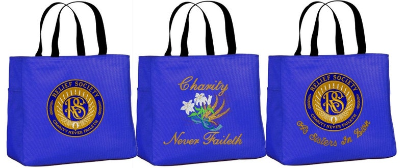 Relief Society Embroidered Medium Size Tote Bag