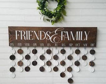 Family birthday board - custom calendar - friends and family celebration board - wooden birthday sign - birthday calendar - gifts for her