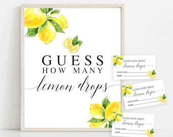 Lemon Guess How Many Lemon Drops Sign and Tickets Printable Citrus Lemon Bridal Couples Couple Shower Game Games Sign Instant Download 290