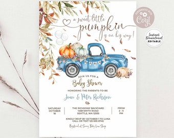 Editable Fall Blue Pumpkin Pickup Truck Baby Shower Baby Sprinkle Invitation Boy Autumn Baby Shower Template Instant Download 1261V1 (3)