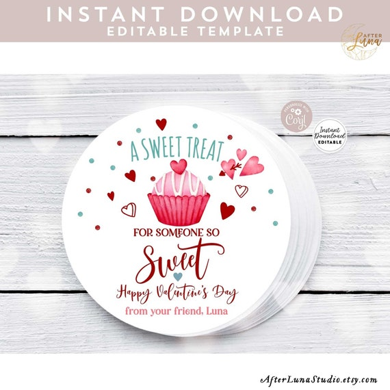 EDITABLE Valentine Sweet Treat Favor Tag Hearts Treat Bag Baby