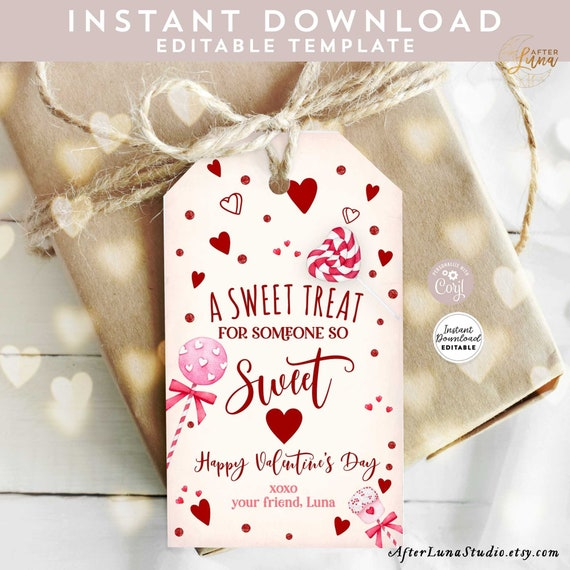EDITABLE Valentine Sweet Treat Favor Tag Hearts Treat Bag Tag