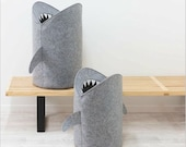 Storage basket grey SHARKS FAMILY Collection. Felt Laundry Baskets Collection for bathroom or children's room as a basket for toys