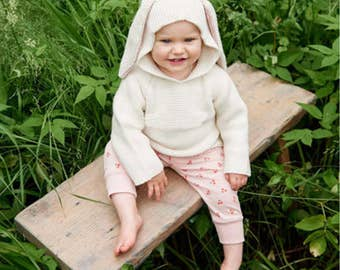 Baby Sweaters Rabbit Ears Hooded Shirt Clothes Autumn Knitted Sweater