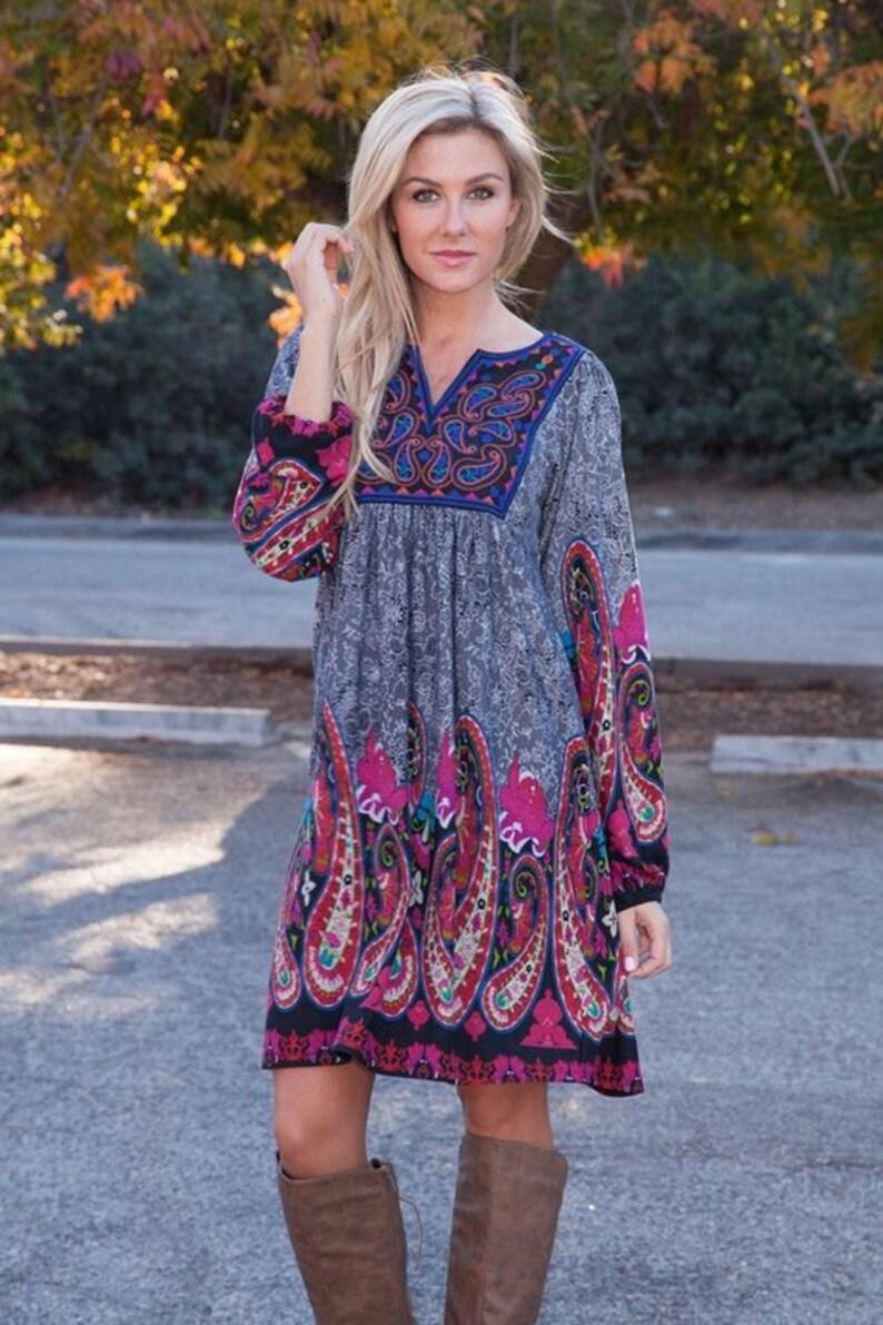 Zadero Tunic dress boho dress womens dress bohemian  46284f0a5d6d7