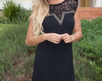 Desmond - womens dress, black dress, sleeveless lace dress, party dress, business woman