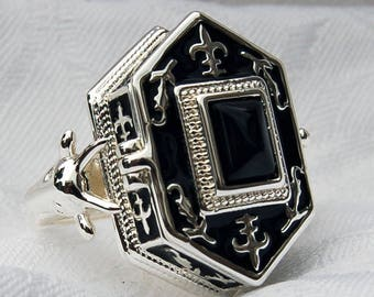 Bavaria-ringsize 9 unique vintage-sterling silver-ring-onyx /& moonstone gemstones-approx 1970-manufactured in Germany