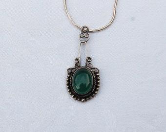 Fine Vintage Art  Deco design Silver Pendant with Jade.