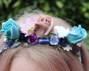 Mermaid Flower Crown Costume Rose Headband Starfish Shell Witch Pagan Wicca Boho Princess Halloween Pastel Goth