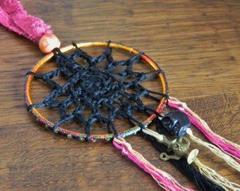 Crochet Dream Catcher - Handmade Lace Boho Hippy Hippie Wicca Goth Spooky Halloween Pink Black Bright Colourful SkullPastel Nu