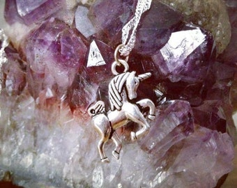 Unicorn Necklace Pretty Horse Fairytale Fantasy Mythical Creature Magical Pagan Pretty Cute