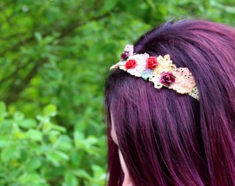 Free Hand Embroidery Headband Flower Crown Festival summer garland hand sewn with flower details