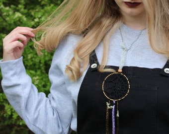 Halloween Crochet Dream Catcher Handmade Lace Decorative Boho Hippy Shabby Chic Whimsical Witch Pagan Fairy Bat Ghost Nature Natural