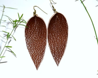 cognac jewelry, Leather Leaf Earrings, Brown Earrings, Leather Earrings, Genuine Leather leaves Earrings, leather Jewelry, joanna gaines