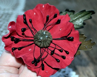 red flower brooch, leather flower brooch, brooch red poppy natural leather