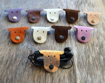 cord holder dog cord organizer earbud holder leather dog lover gift Christmas stocking stuffer organizador cable leather earbud case