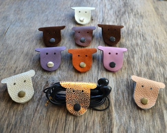 cord organizer dog earbud holder leather cord organizer Dog Cord holder Christmas stocking stuffer organizador cable leather earbud case