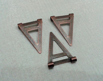 20 Pcs Copper Plated 16,5 x 25 mm Geometric Triangle Form Findings