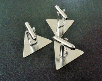 10 Pcs ( 5 Pairs ) Silver Tone Color Triangle  Cufflink Blank Findings Backs Base Cuff Link Glue Pad 25 mm Triangle ,