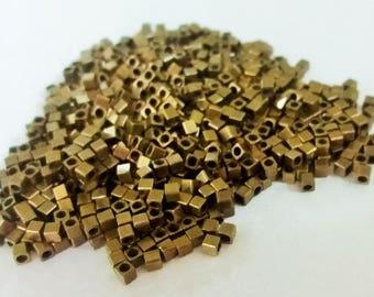 120 Pcs Antique Bronze  2,5 x 2,5 mm Square Cube Beads, 2 mm Hole -Excellent quality