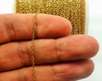 165  Feet - 50 Meter 1,5 x 2 mm Raw Brass Soldered Chain