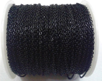 33 Feet - 10 Meter 1,5 x 2 mm Black Color  Soldered Chain - BRASS