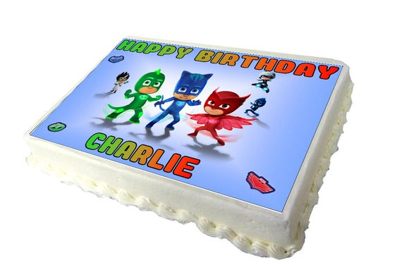 PJ Masks A4 Birthday Cake Topper With Any Name